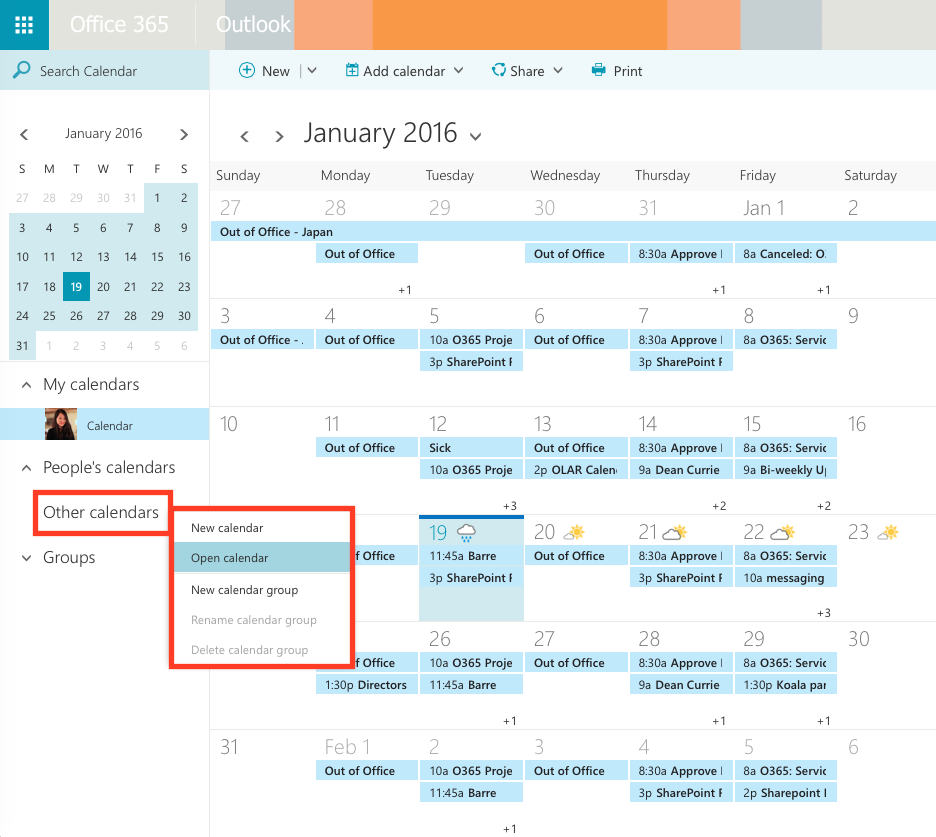 from the left navigation pane right click on other calendars select open calendar
